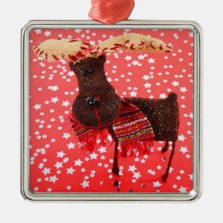 Fabric Reindeer On Red Christmas Ornament