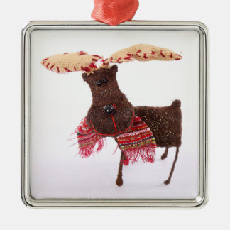 Fabric Reindeer On White Christmas Ornament