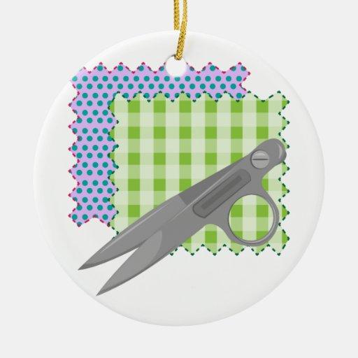 Fabric & Scissors Christmas Tree Ornament