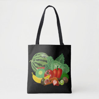 fabric stock market fruits in black bottom tote bag