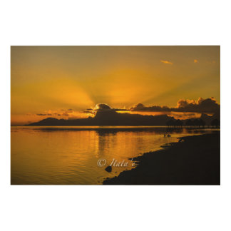 "Fabric ""Sunset"" on the island of Moorea Wood Wall Art"
