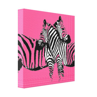 Fabric Two Pink Zebras Canvas Prints