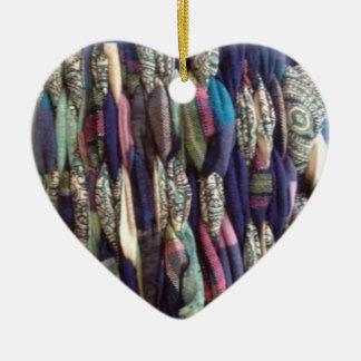 Fabric Weaving Heart Shaped Christmas Ornament