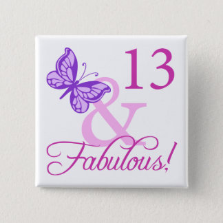 Fabulous 13th Birthday 15 Cm Square Badge