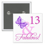Fabulous 13th Birthday 15 Cm Square Badge
