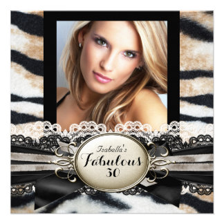 Fabulous 30 Beige Brown Black Tiger Fur Birthday Personalized Invitations