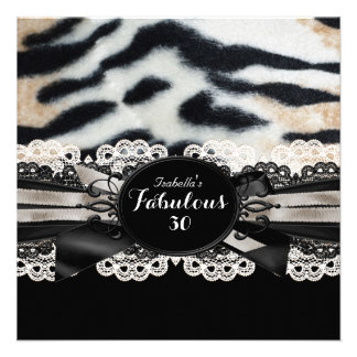Fabulous 30 Birthday Beige Brown Black Tiger Fur 2 Personalized Invitations