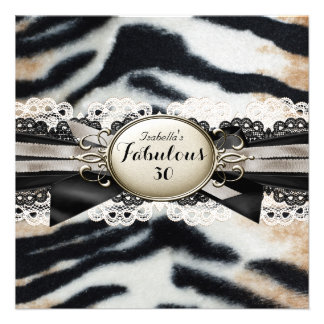 Fabulous 30 Birthday Beige Brown Black Tiger Fur Personalized Announcement