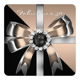 Fabulous 30 Coffee Black Pearl Birthday Party 2 5.25x5.25 Square Paper Invitation Card