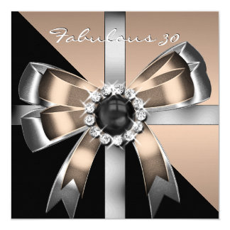 Fabulous 30 Coffee Black Pearl Birthday Party 2 Personalized Announcement Cards