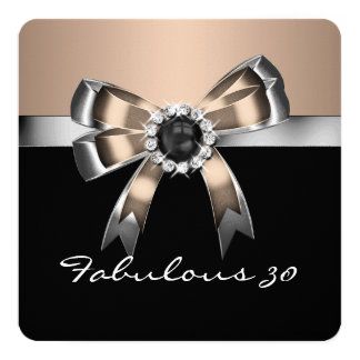 Fabulous 30 Coffee & Black Pearl Birthday Party 3 5.25x5.25 Square Paper Invitation Card