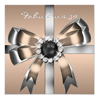 Fabulous 30 Coffee Pearl Silver Birthday Party 5.25x5.25 Square Paper Invitation Card
