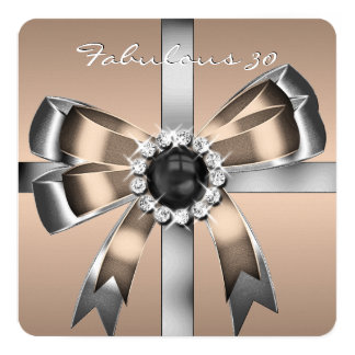 Fabulous 30 Coffee Pearl Silver Birthday Party Invitation Cards