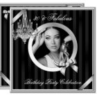 Fabulous 30 Elegant Chandelier Silver Black Photo Card