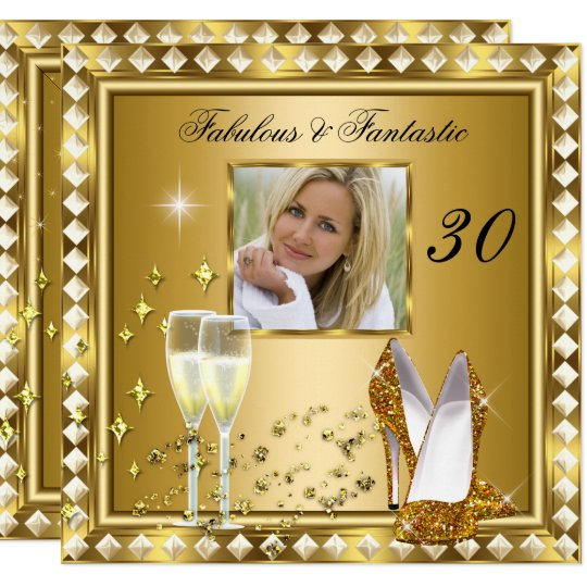 Fabulous 30 Photo Gold Glam Hollywood Birthday 5 Card