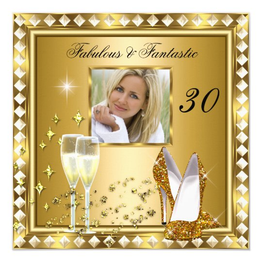 Fabulous 30 Photo Gold Glam Hollywood Birthday 5 Card