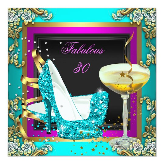 Fabulous 30 Pink Teal Glitter Gold Birthday Party