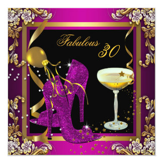 Fabulous 30 Plum Pink Gold Birthday Party Card