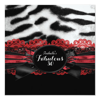 Fabulous 30 Red Black Tiger Fur Birthday Party 2 13 Cm X 13 Cm Square Invitation Card