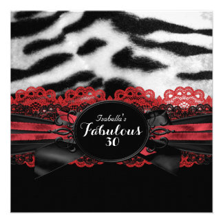 Fabulous 30 Red Black Tiger Fur Birthday Party 2 Personalized Announcements