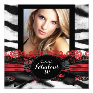 Fabulous 30 Red Black Tiger Fur Birthday Party Invite