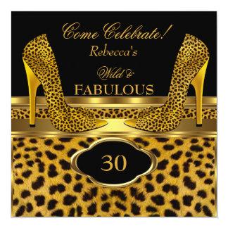 Fabulous 30 Wild Leopard Gold Cheetah High Heels Card