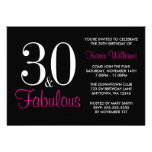 Fabulous 30th Black and Pink Birthday Party Custom Invite