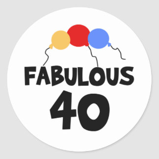 Fabulous 40 40th Forty Birthday Round Sticker
