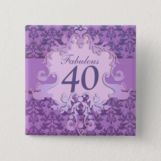 """Fabulous 40"" age damask elephant button/badge 15 Cm Square Badge"