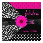 fabulous 40 Birthday Zebra Spot Polka Dot 13 Cm X 13 Cm Square Invitation Card