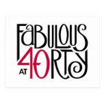 Fabulous 40 black red Postcard