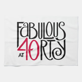 Fabulous 40 black red Tea Towel
