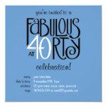 Fabulous 40 black white blue Birthday Invitation