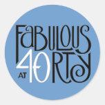 Fabulous 40 black white blue Round Sticker