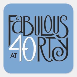 Fabulous 40 black white blue Square Sticker