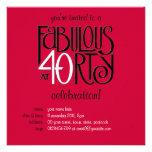 Fabulous 40 black white red Birthday Invitation