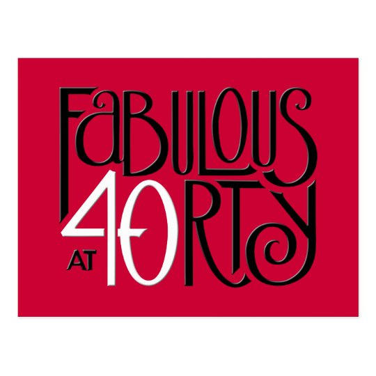 Fabulous 40 black white red Postcard