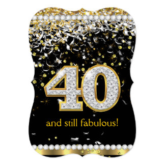 Fabulous 40 Gold Silver Streamers 40th Party 13 Cm X 18 Cm Invitation Card