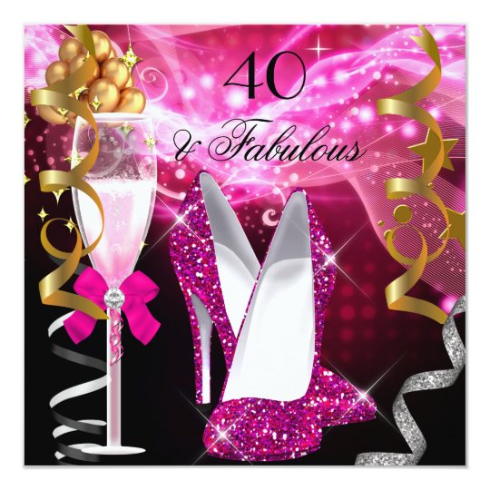 Fabulous 40 Hot Pink Glitter Heels Birthday Party