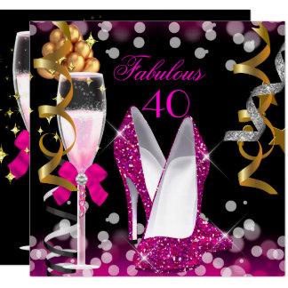 Fabulous 40 Hot Pink Gold Black Bubbles Party Card