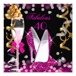 Fabulous 40 Hot Pink Gold Black Bubbles Party 5.25x5.25 Square Paper Invitation Card
