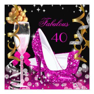 Fabulous 40 Hot Pink Gold Bubbles Glitter Party 2 13 Cm X 13 Cm Square Invitation Card