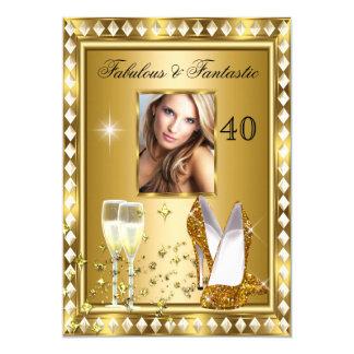 Fabulous 40 Photo Gold Glam Hollywood Birthday 4 13 Cm X 18 Cm Invitation Card