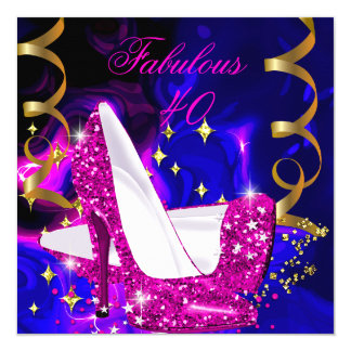 Fabulous 40 Pink Blue Gold Heels Abstract Birthday Card