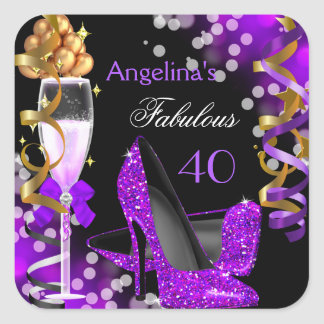 Fabulous 40 Purple Heels Gold Bubbles Birthday Square Sticker