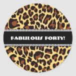 Fabulous 40th Birthday Leopard and Lace A11 Round Sticker