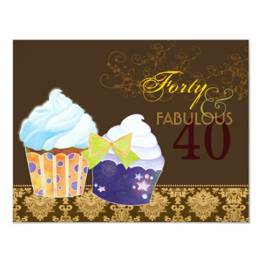 Fabulous 40th Birthday Party Cupcakes Card