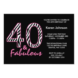 Fabulous 40th Black and Pink Zebra Birthday 13 Cm X 18 Cm Invitation Card