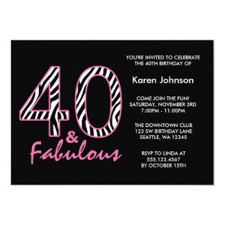 Fabulous 40th Black and Pink Zebra Birthday Card