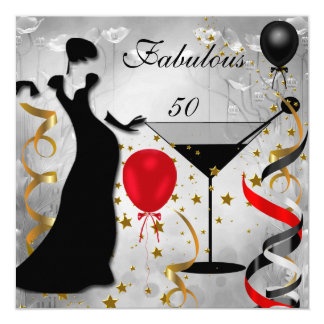 Fabulous 50 50th Birthday Party Deco Lady Red 2 13 Cm X 13 Cm Square Invitation Card